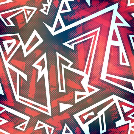 red graffiti seamless pattern with grunge effect