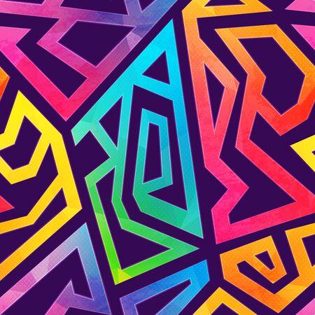 Graffiti geometric pattern with grunge effect