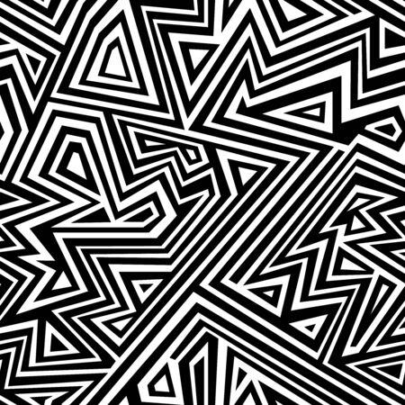 Illustration pour Monochrome line seamless pattern. - image libre de droit