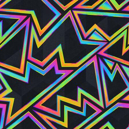Illustration pour Bright neon geometric seamless pattern - image libre de droit