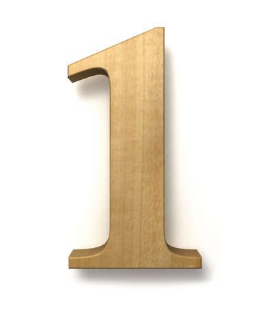 Number one made of wood isolated on a white background