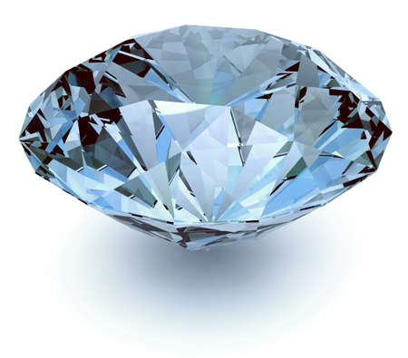 Diamond with light blue reflections
