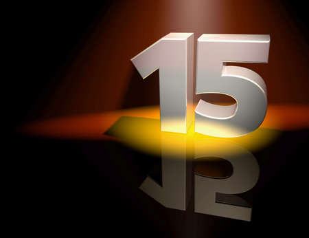 Number fifteen in silver letters on a coloured background