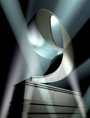Number nine in silver letters on a silver pedestal