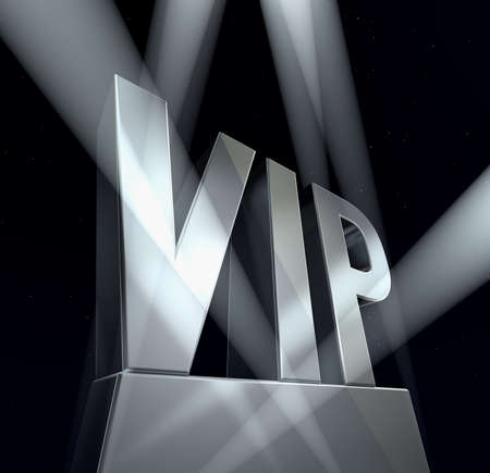 VIP sign VIP in silver letters on a silver pedestal at a black background