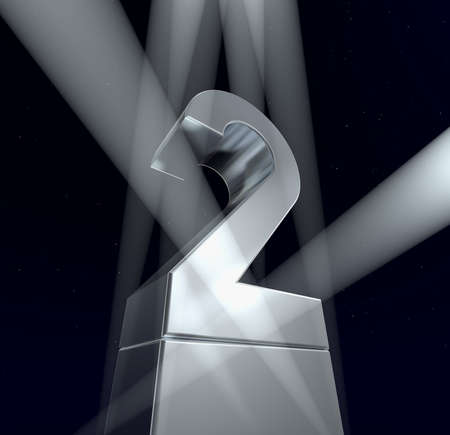 Number two Number two in silver letters on a silver pedestal