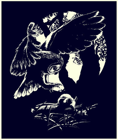 Mouse hunting Silhouettes of an owl and a mouse in black and white