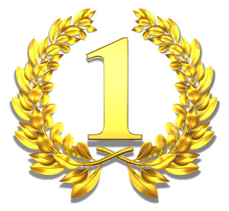 Congratulation one Golden laurel wreath with number one inside