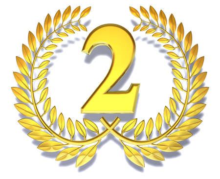 Congratulation two Golden laurel wreath with number two inside
