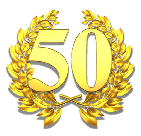 Number fifty Golden laurel wreath with the number fifty inside