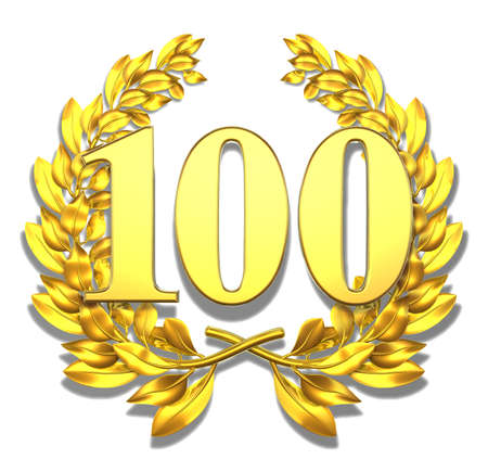 Number hundred Golden laurel wreath with the number hundred inside