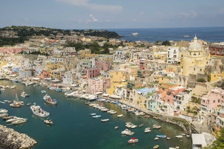 Landscapes of Port of Corricella in Procida Island, Italy
