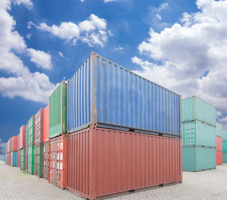 Photo for Stack of Cargo Containers at the docks - Royalty Free Image