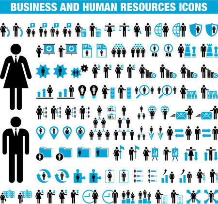 Illustration for Business and Human Resources icons - Royalty Free Image