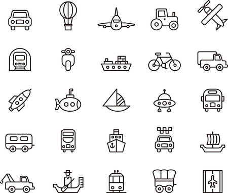 TRANSPORT outlined icons