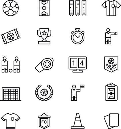 Ilustración de SOCCERFOOTBALL outlined icons - Imagen libre de derechos