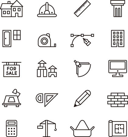 ARCHITECTURE and CONSTRUCTION outlined icons