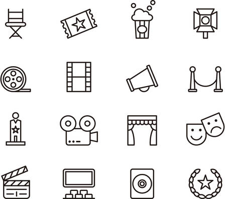 Illustration pour Set of outlined icons related to CINEMA - image libre de droit