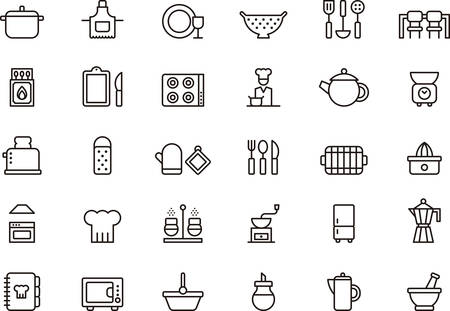 Set of KITCHEN outlined icons