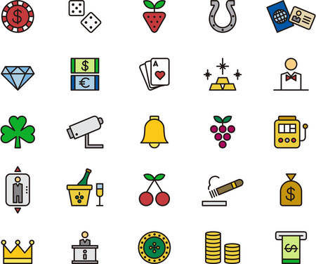 CASINO GAMBLING filled outline & icons