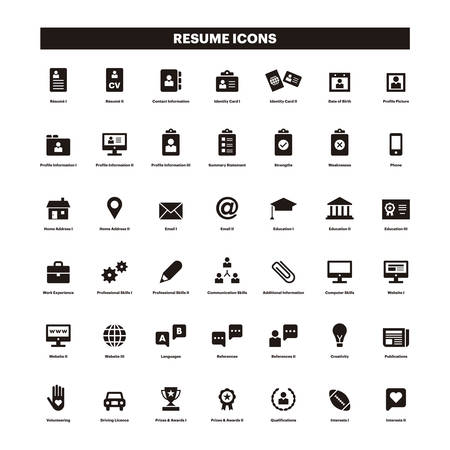 Illustration for CV and resume black solid icons - Royalty Free Image