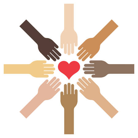 Ilustración de Extended hands with different skin tones towards a centered heart - vector illustration - Imagen libre de derechos