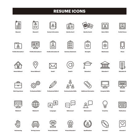 Illustration for CV & SUMMARY outline icons - Royalty Free Image
