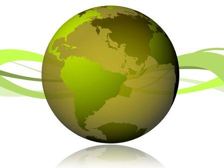 Mundo 3D verde con ondas en la parte trasera