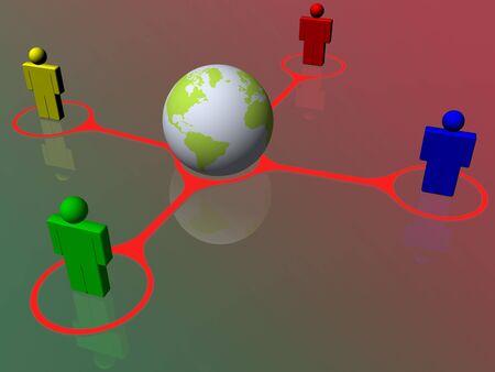 Red social de personas de diferentes lugares conectadas entre si