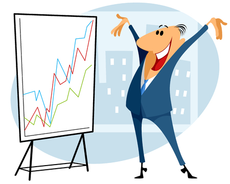 Vector illustration of a trader with graph