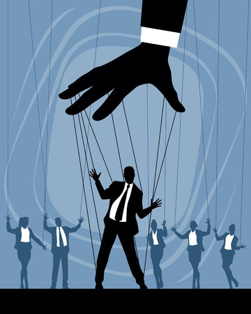 Illustration pour Vector illustration of silhouettes of business puppets - image libre de droit