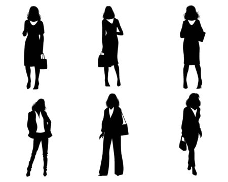 Illustration for Vector illustration of silhouettes of modern women - Royalty Free Image