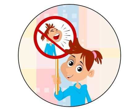 Illustration pour Vector illustration of a girl who never screams - image libre de droit
