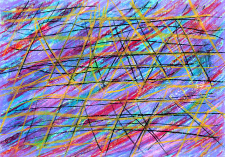 Foto de Abstract background with multicolored stripes. Background with color stripes in grunge style with scratches. Diagonal lines, black and yellow deep scratches, notches, mesh, cobweb. - Imagen libre de derechos