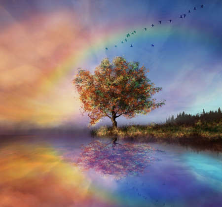 Photo for manipulated landscape with a flowered tree and rainbow - Royalty Free Image