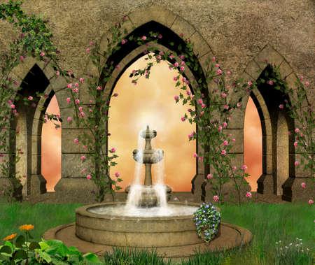 Castke garden with a fountain