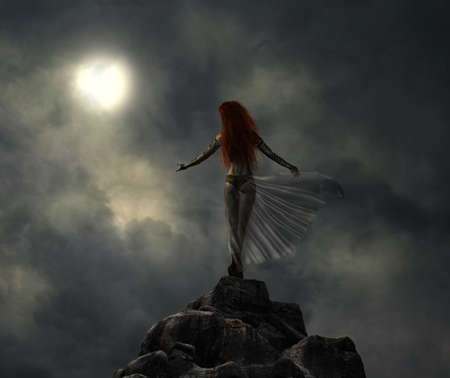 Warrior woman in the top of a hill looking at the moon