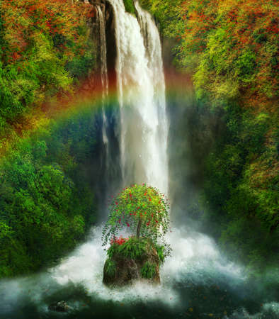 Fantastic waterfall with a rainbow
