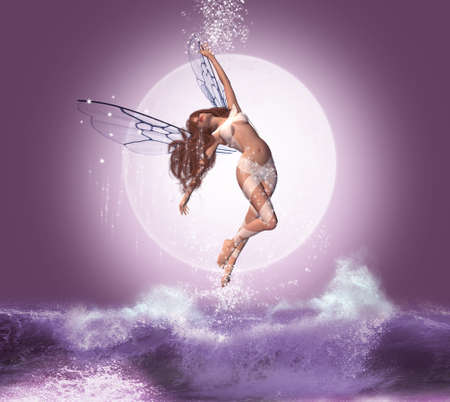 Beautiful fairy flying over the waves in a night with full moon