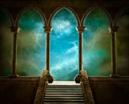 Photo for Fantastic gallery witn columns and stairs and a beautiful sky at the back - Royalty Free Image