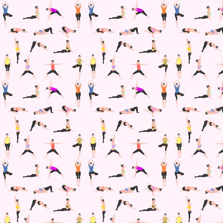 Illustration for pattern seamless set of yoga. female pose mountain downward dog warrior tree bridge triangle  cobra pigeon crow. vector illustration - Royalty Free Image