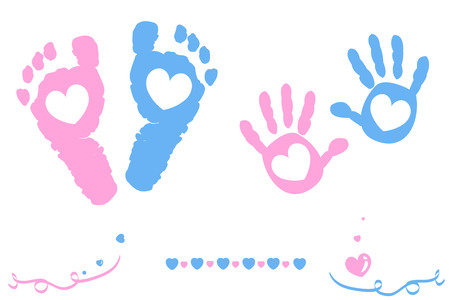 Illustration for Twin baby girl and boy feet and hand print card on arrival - Royalty Free Image