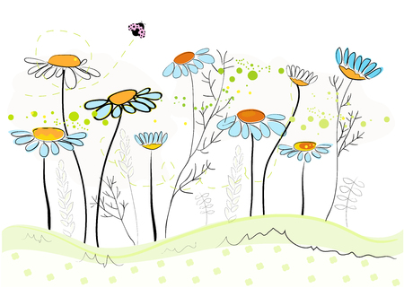 Illustration for Daisy spring flowers background. Floral abstract background, vector illustration - Royalty Free Image