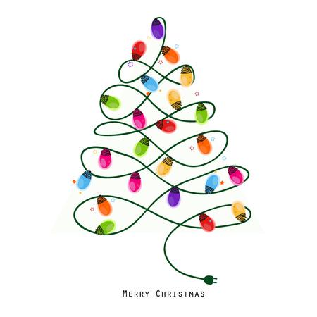 Colorful Christmas Tree Vector.Colorful Christmas Tree Light Bulb New Year Greeting Card