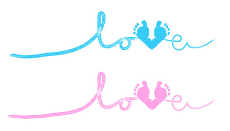 Illustration pour Baby foot prints baby shower greeting card with heart - image libre de droit