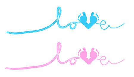 Ilustración de Baby foot prints baby shower greeting card with heart - Imagen libre de derechos