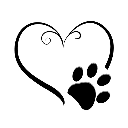 Illustration for Dog paw prints with heart symbol. Tattoo design, vector illustration - Royalty Free Image