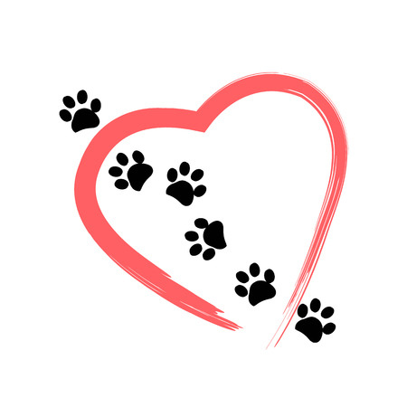 Illustration pour Made of red heart with dog paw print background vector illustration - image libre de droit