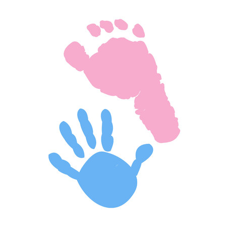 Illustration for Baby foot and hand prints. Twin symbol - Royalty Free Image