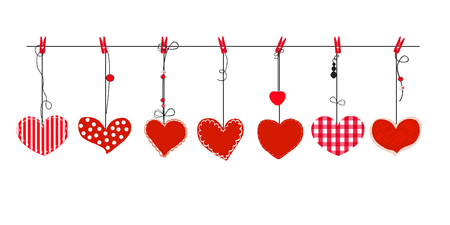 Illustration pour Hanging red hearts vector. Happy valentines day greeting card - image libre de droit